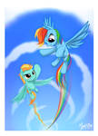Rainbow Dash and Lightning Dust flying