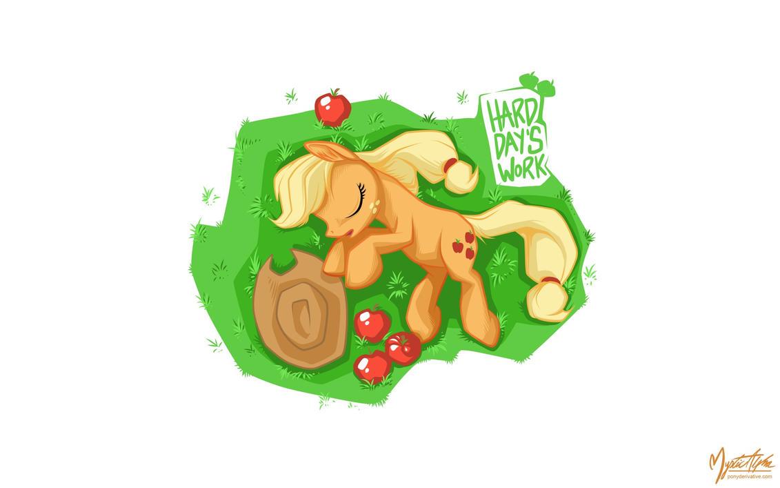 Applejack on Grass by mysticalpha