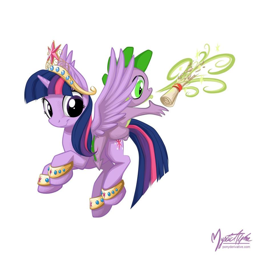 Princess Twilight Sparkle and Spike by mysticalpha