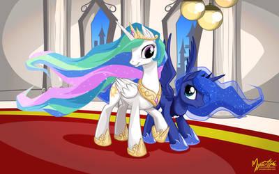 Celestia and Luna by mysticalpha