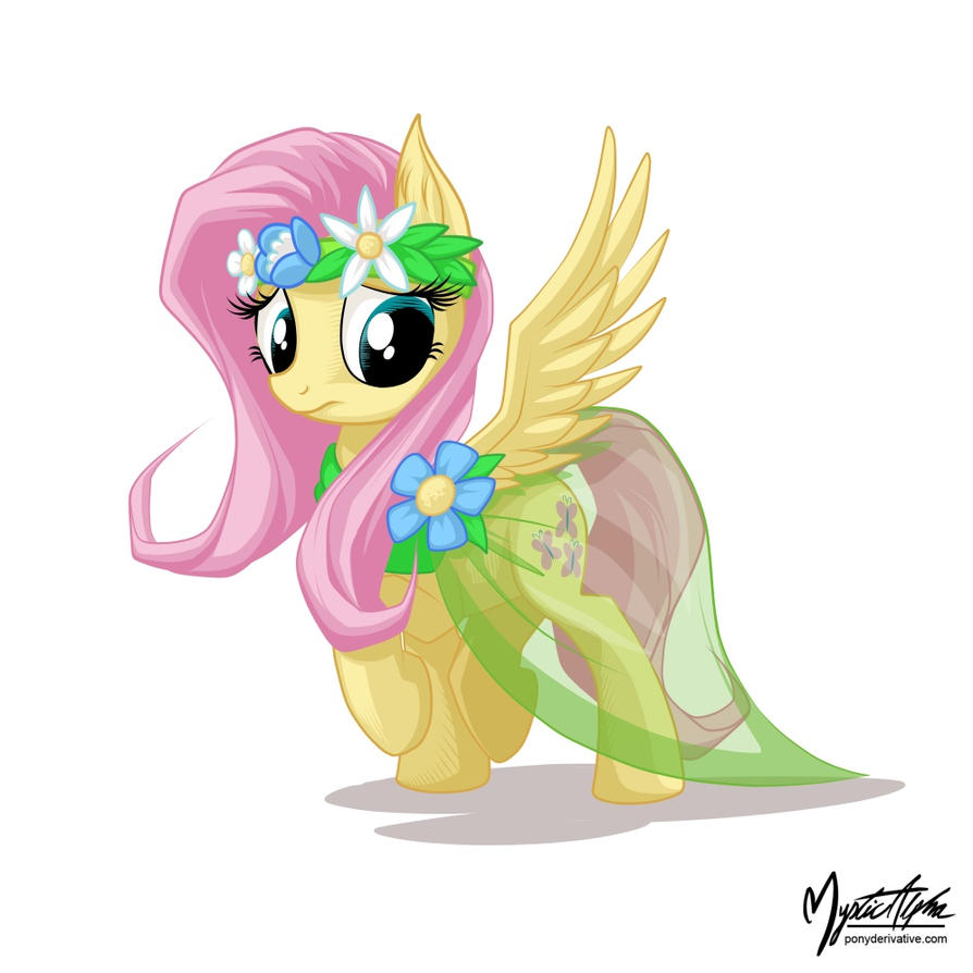 Fluttershy in a dress 2 by mysticalpha
