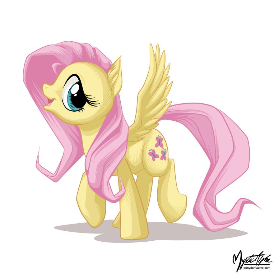 Happy Fluttershy Walk by mysticalpha