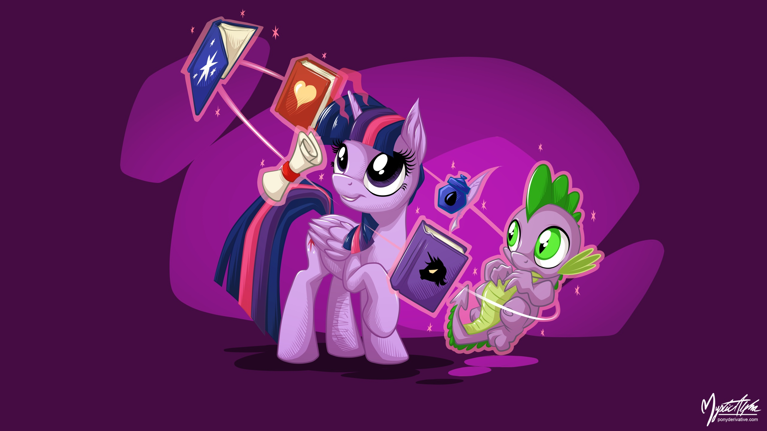 Twilight Sparkle and Spike 2 16:9 by mysticalpha