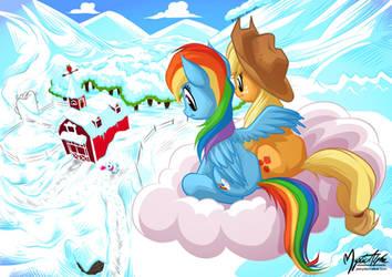 Rainbow and Applejack - Snowy Farm by mysticalpha