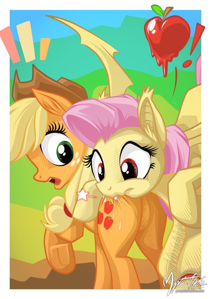 Flutterbat munches Applejack by mysticalpha