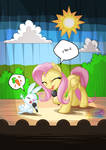 Fluttershy and Angel Singing
