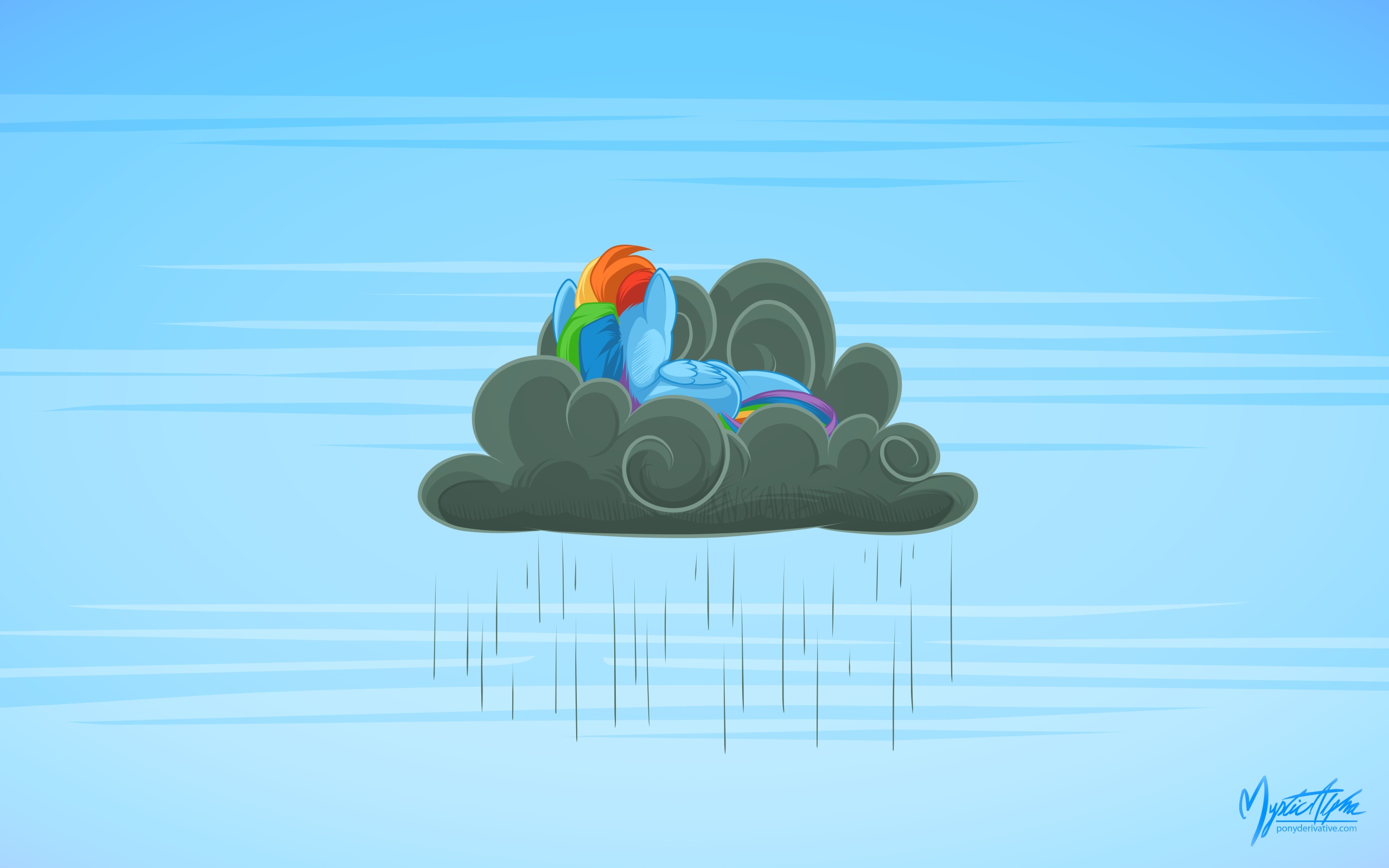 Rainbow Dash on a Rain Cloud by mysticalpha