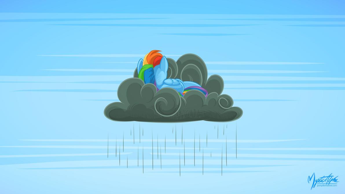 Rainbow Dash On A Rain Cloud 169 By Mysticalpha