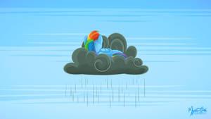 Rainbow Dash on a Rain Cloud 16:9