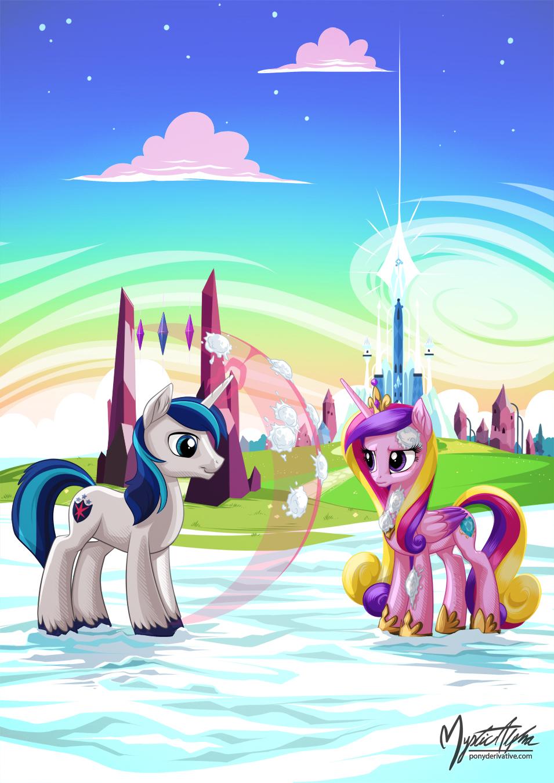 Shining Armor and Princess Cadance - Snowballs