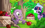 Twilight and Spike at Apple Acres