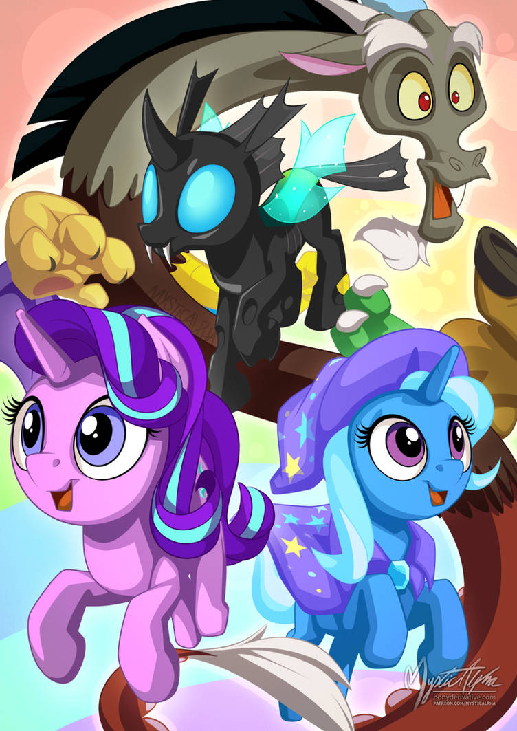Starlight Trixie Discord and Thorax by mysticalpha on DeviantArt