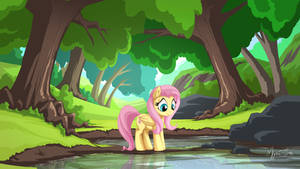 Tree Pond with Fluttershy by mysticalpha