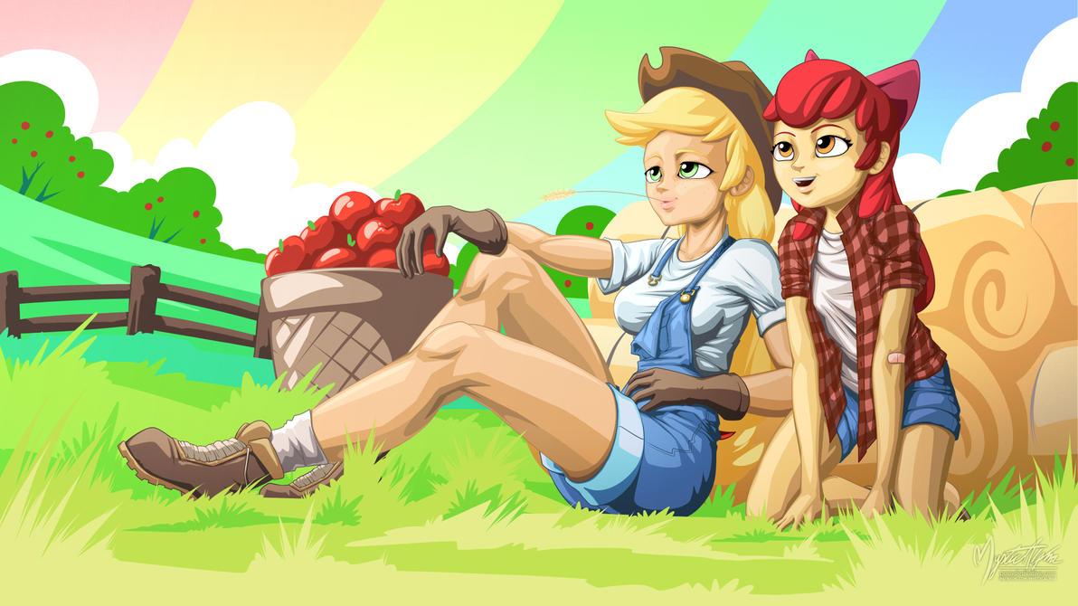 Applejack and Apple Bloom [human] by mysticalpha
