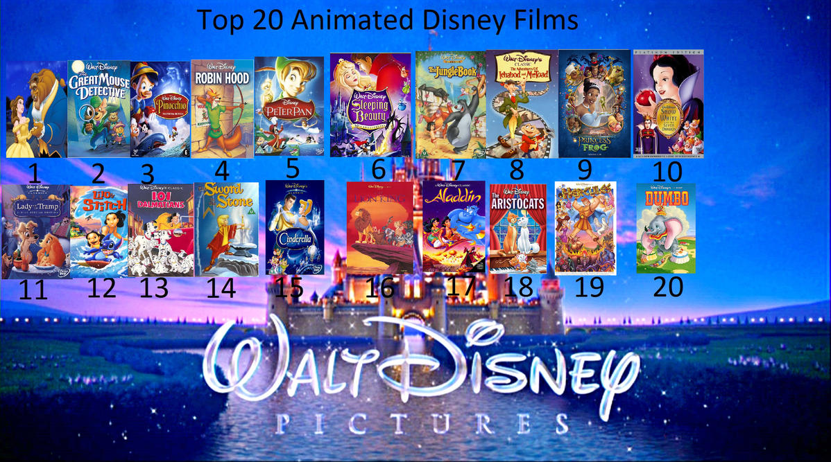 My top 20 favorite animated disney movies by sithvampiremaster27 on