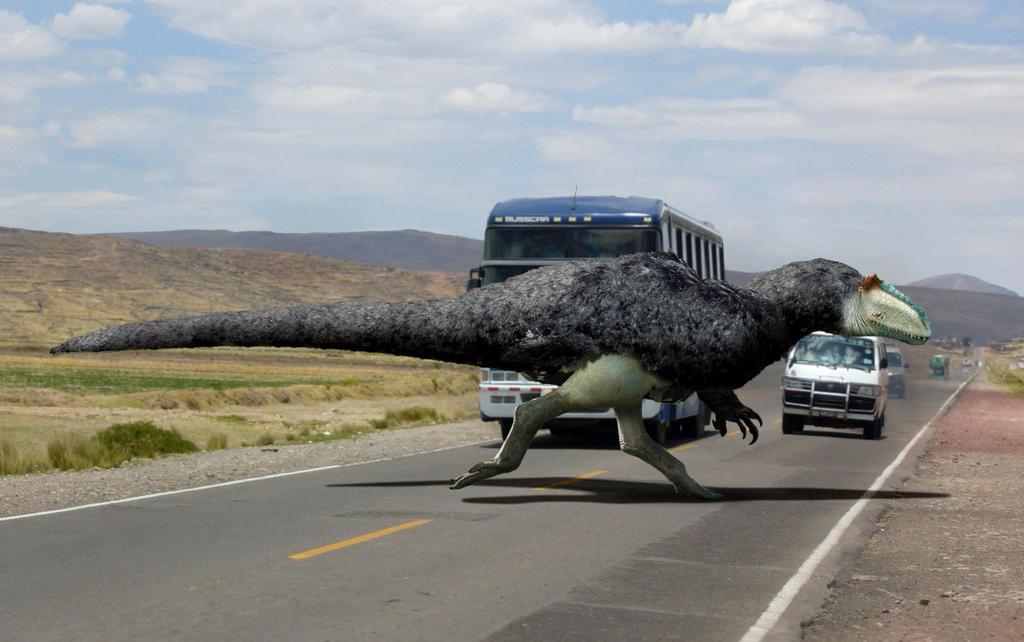 Yutyrannus huali crossing the road by philip72