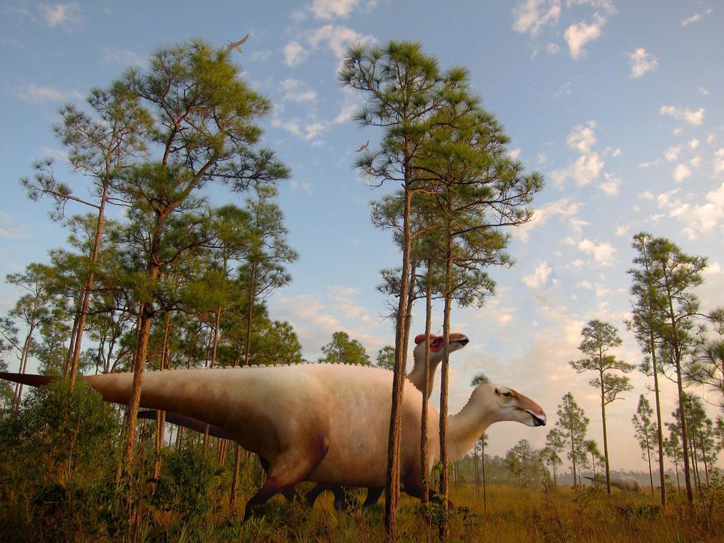 Courting Edmontosaurus by PhilipEdwin