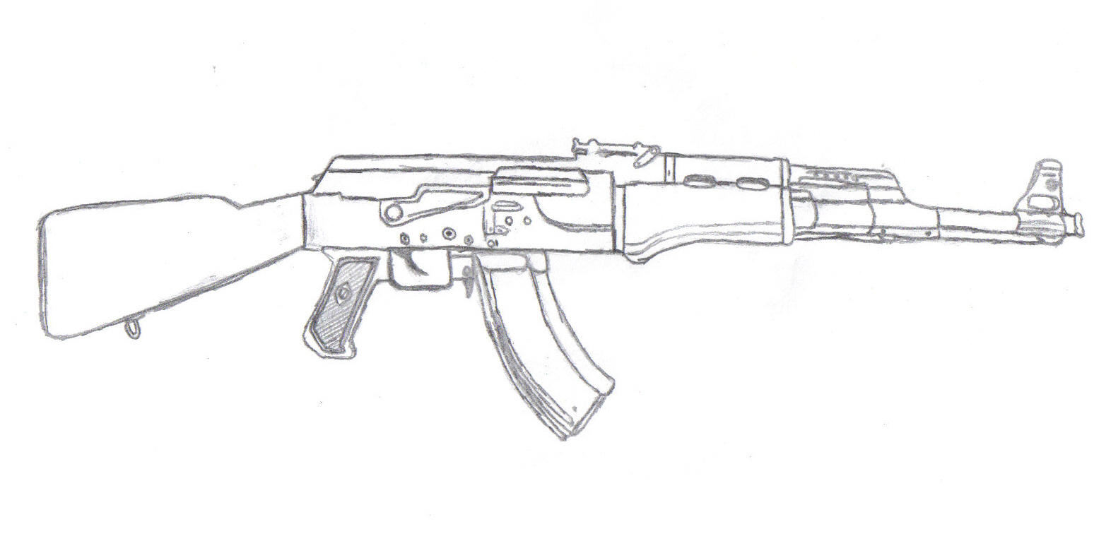 It is an image of Zany Drawing Of Ak 47