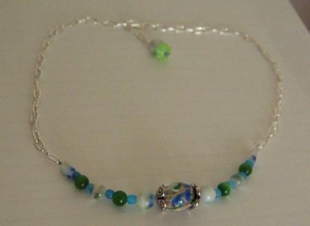 Necklace - Blue Green Flowers by EricaSkye