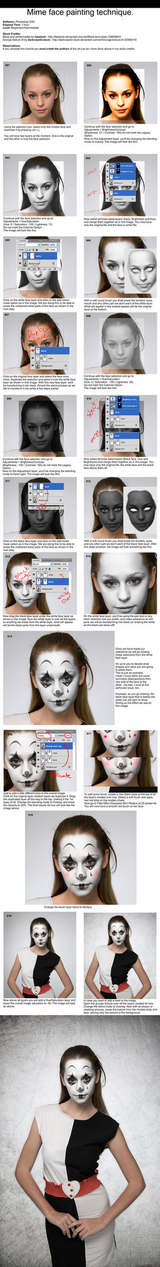 Beginners tutorials on photoshop tutorials deviantart snakesan 432 43 mime face painting tutorial photoshop by pshoudini baditri Gallery