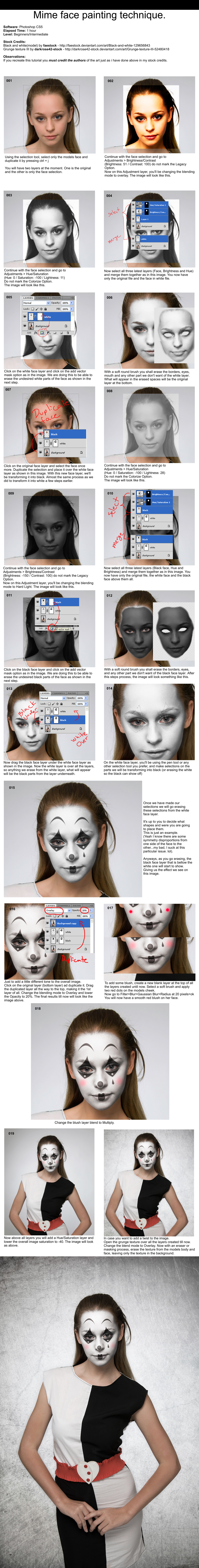 Mime Face Painting Tutorial - Photoshop by PSHoudini