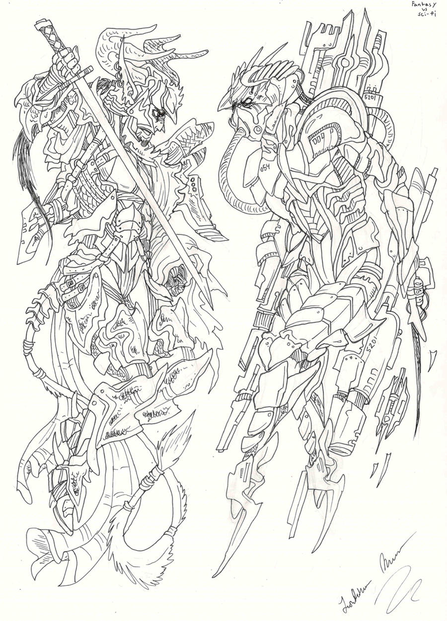 Line Drawing Vs Value Drawing : Fantasy vs sci fi lineart by oogreenballoonoo on deviantart