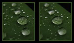 water drops 3 stereoscopic