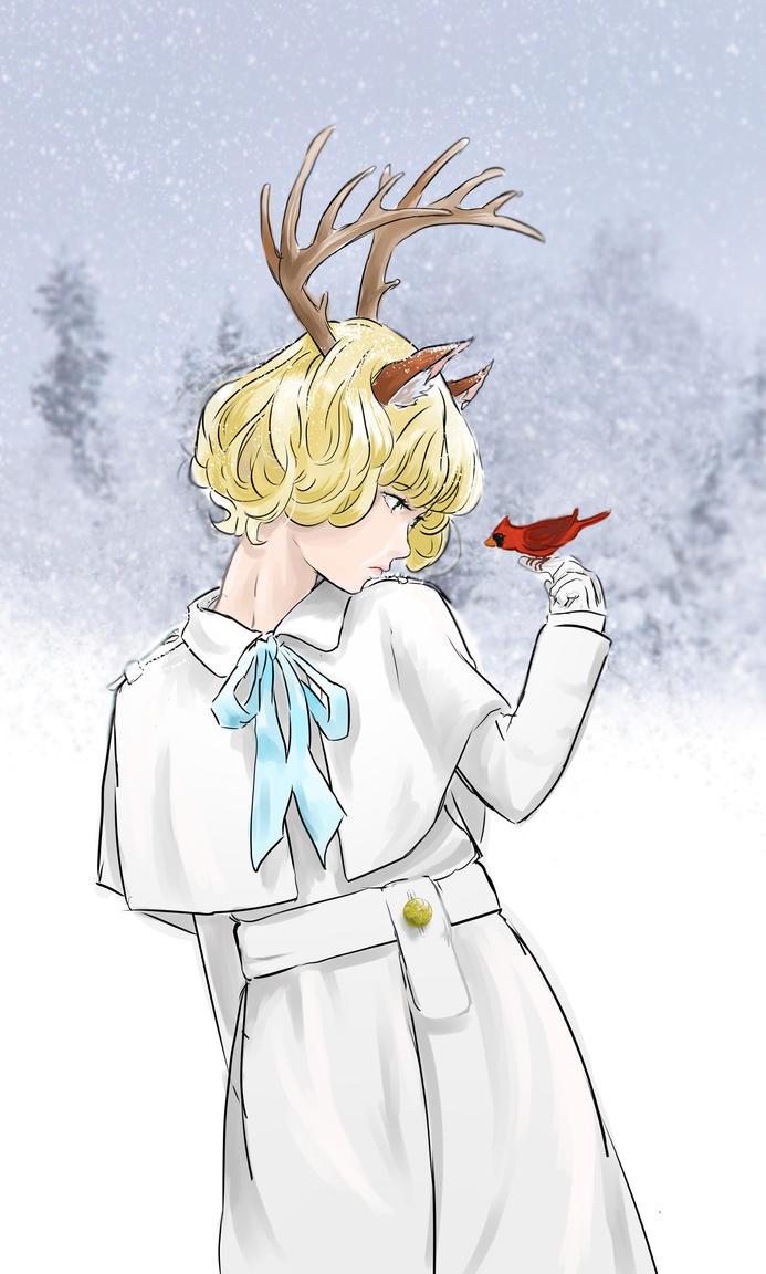 Deer Cardinal by MichiruYami