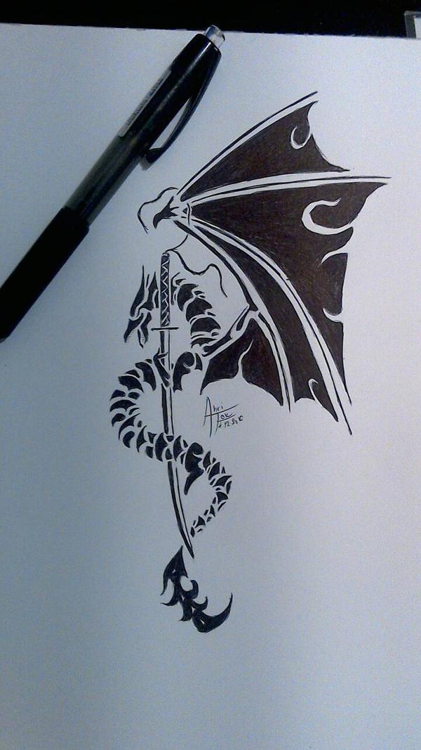 Dragon tribal tattoo by Ahrifox