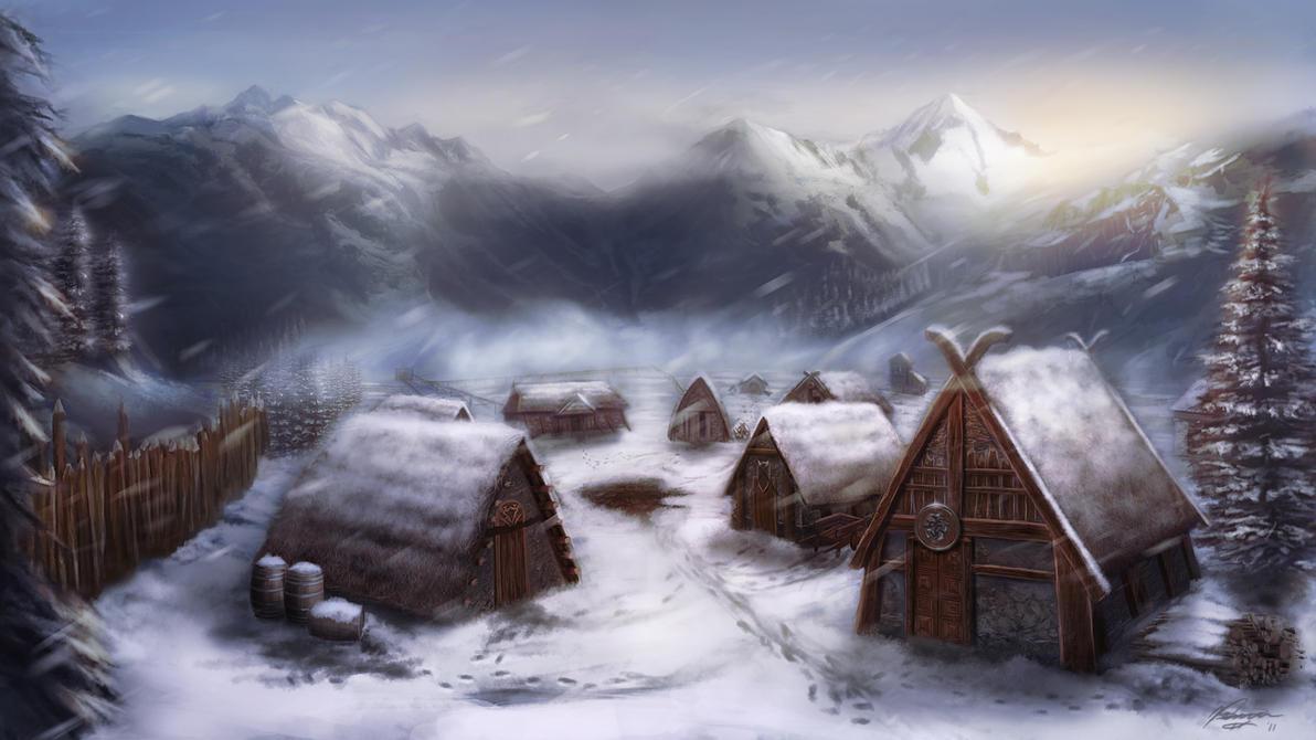 Viking village by michaeldaviniart