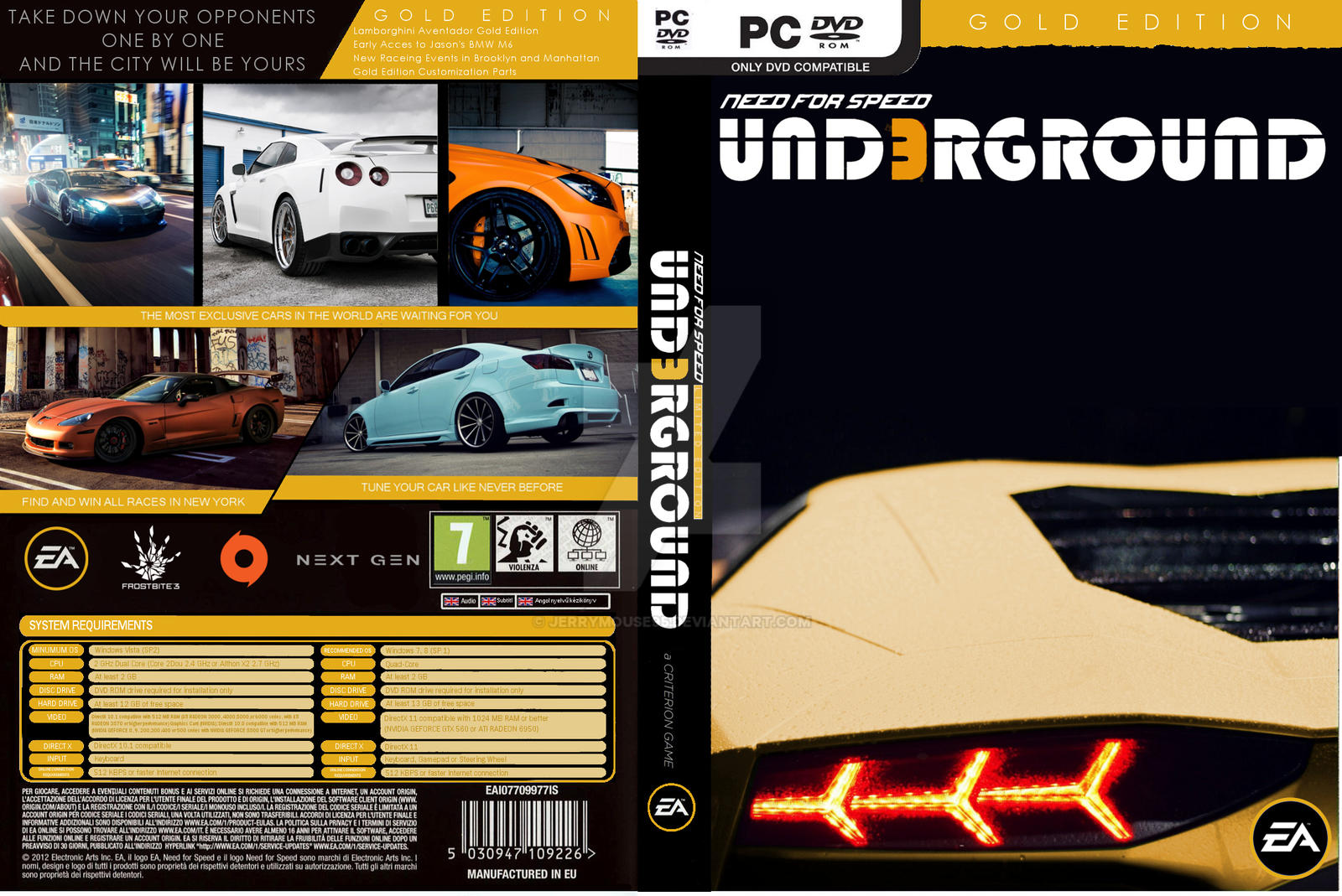 nfs underground 3 gold edition cover pc by jerrymouse95 on deviantart. Black Bedroom Furniture Sets. Home Design Ideas