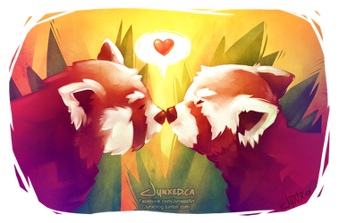 Red Panda Love by Jynxed-Art