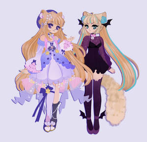 Commission piece: Lennsella (left) and Mia (right)