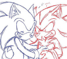 Sonic and shadow sketch by Sparky2hot4ya