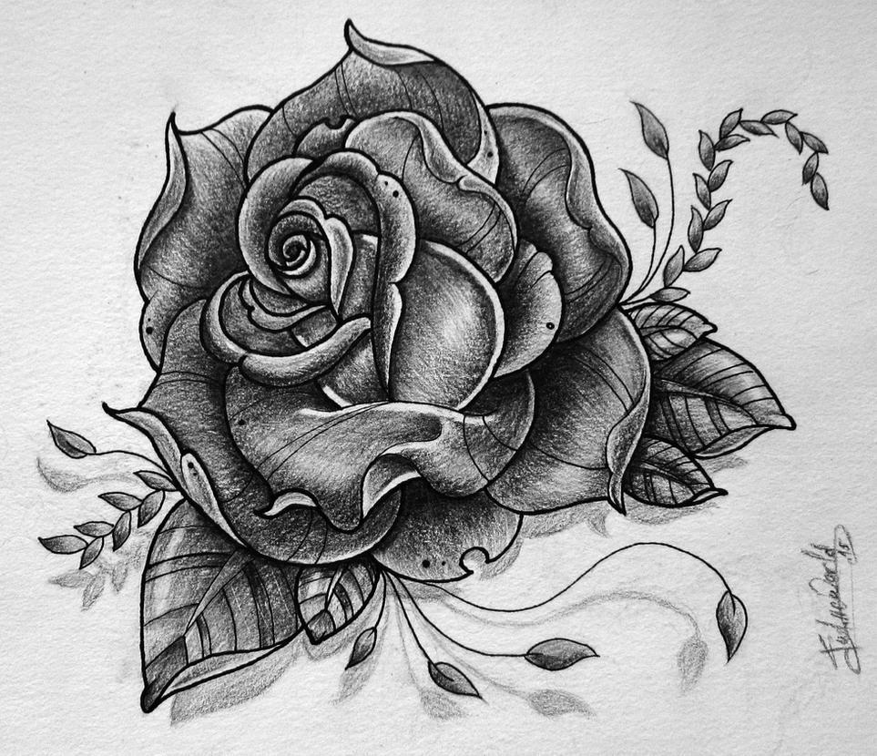 rose tattoo design by gabchik on deviantart. Black Bedroom Furniture Sets. Home Design Ideas