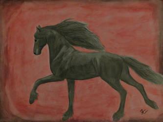 Galloping Friesian by BellaZarah