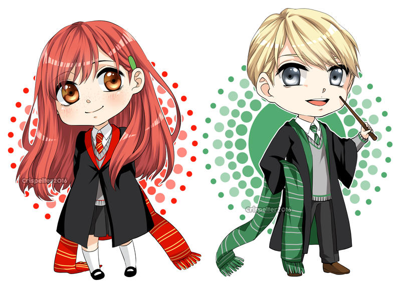 Draco and Ginny chibis by Crispelter on DeviantArt