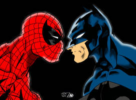 Spidey vs Bats (colours) by Little--Broling