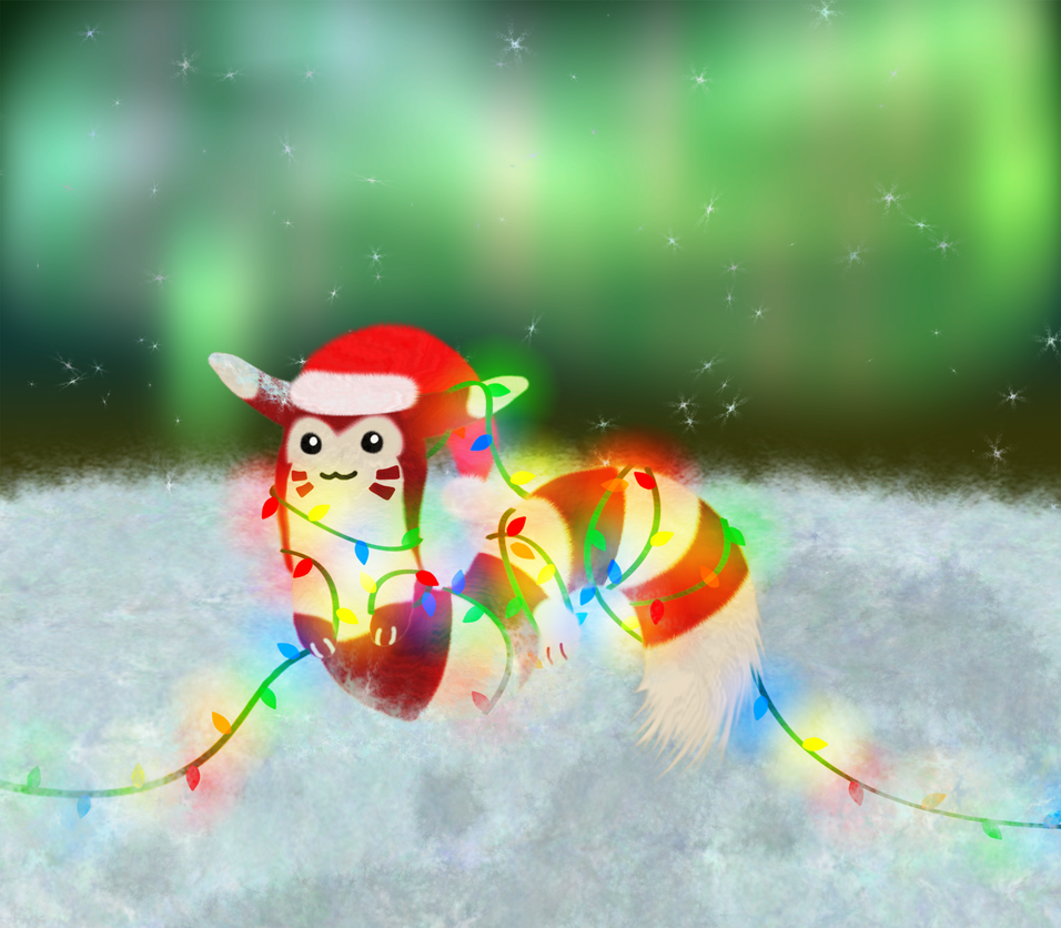 Candy Cane Furret by PorkyMeansBusiness