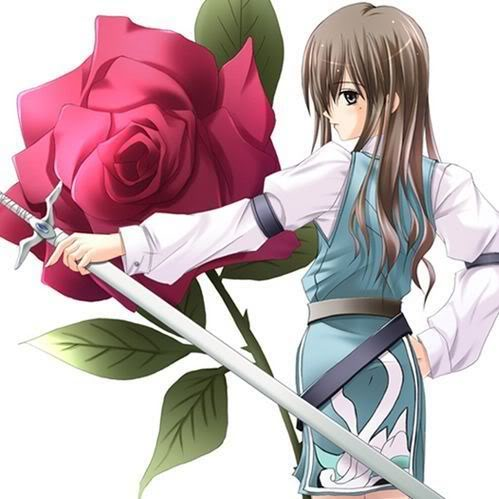 Anime girl infront of a rose