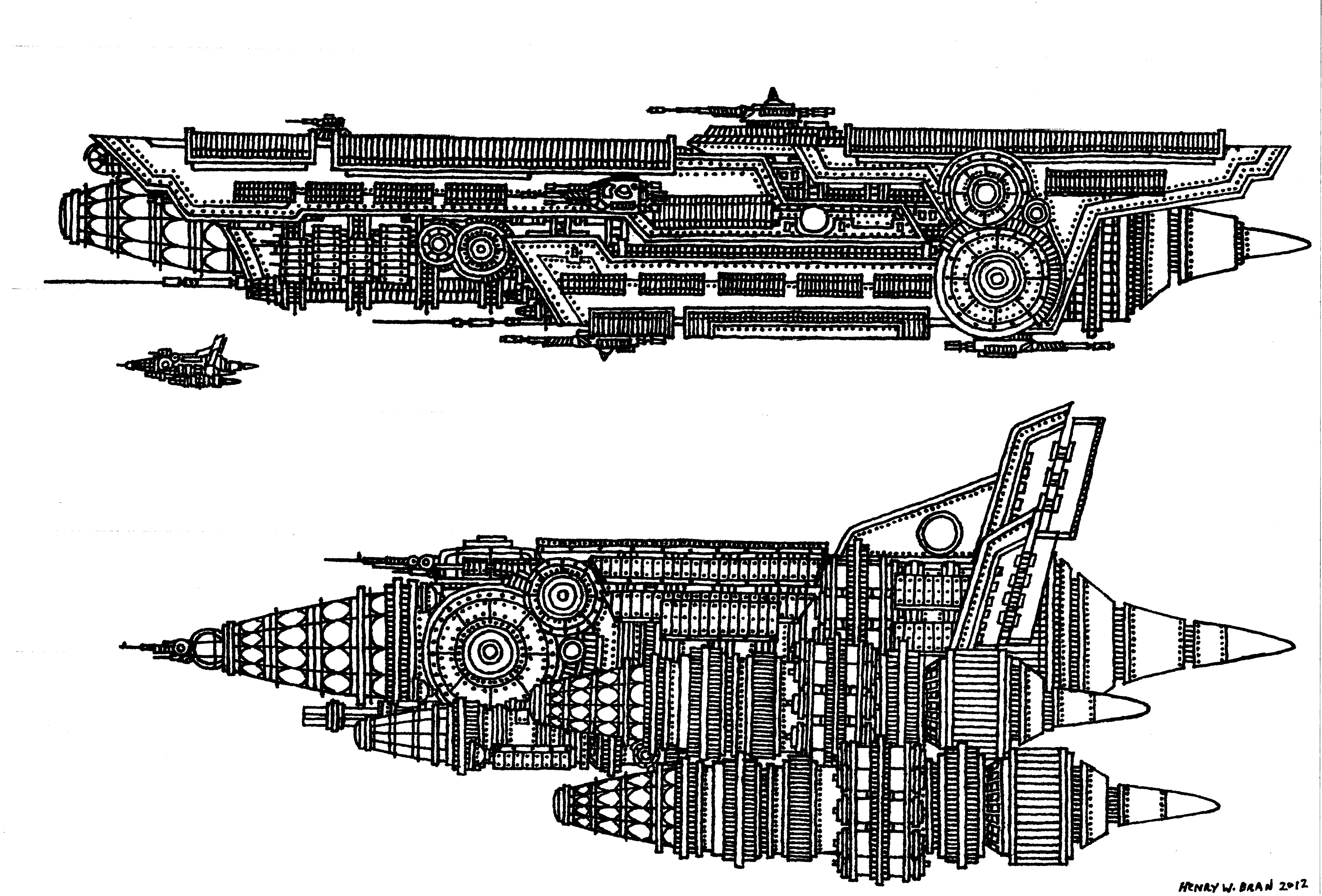Tenebrae Imperium Military cruiser and bomber by TenebraesRising