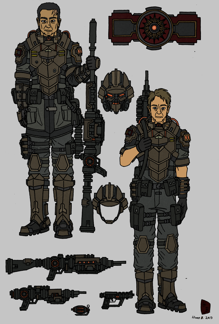 Tenebrean Basic Infantry and gear concept by TenebraesRising