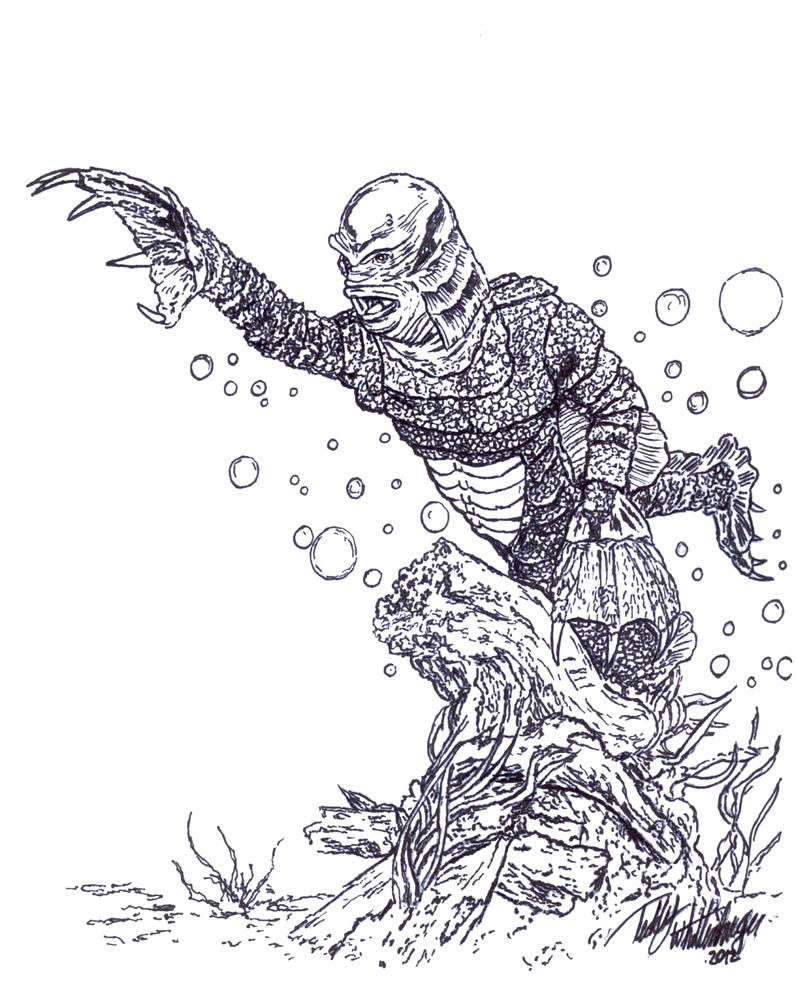 Creature swimming in the black lagoon by teddy09 on deviantart for Creature from the black lagoon coloring pages