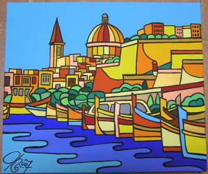 Luzzus in Valletta