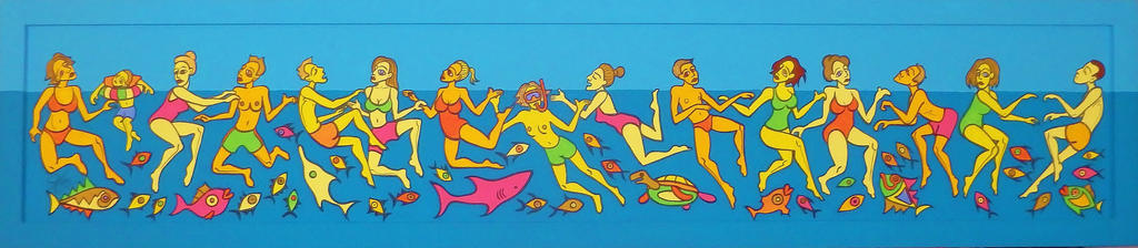 Swimmers at Blue Grotto - Malta by Evilpainter
