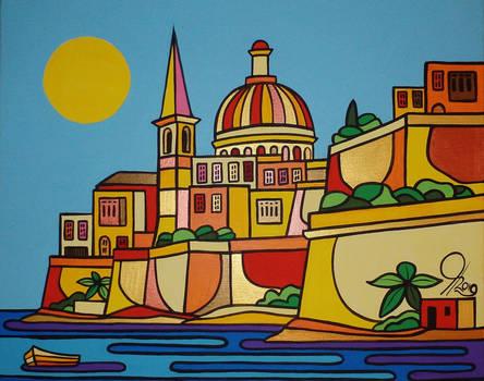 a small Valletta scene 30 x 50 cm
