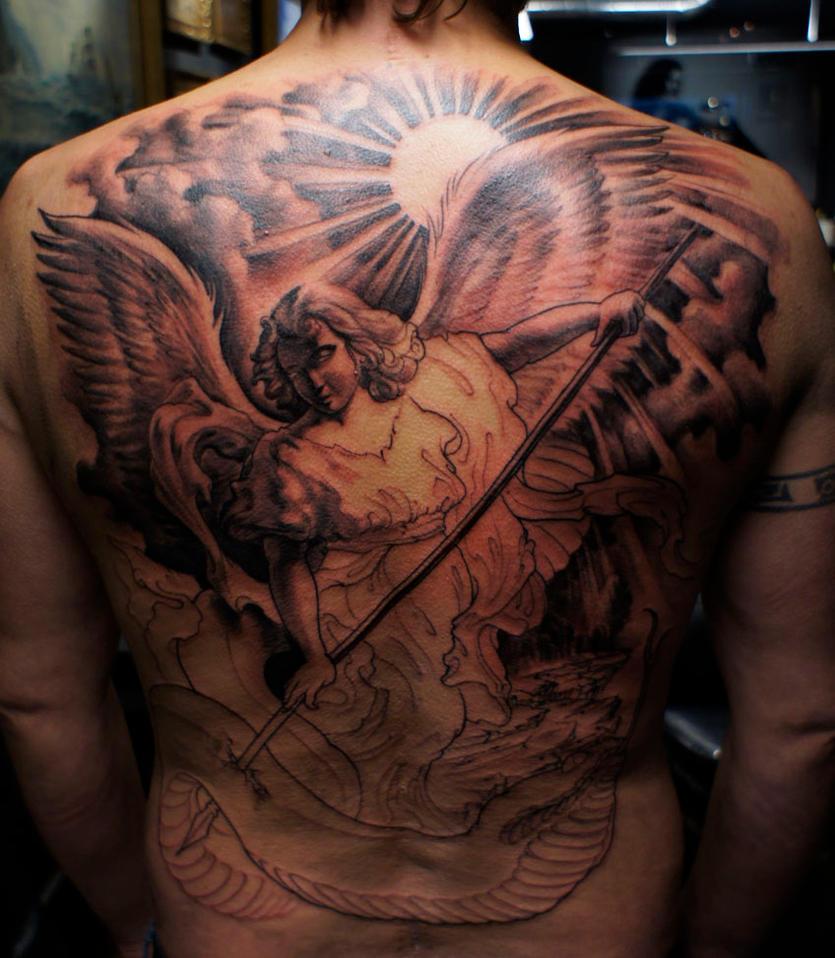 Guardian angel backpiece by strangeris on deviantart for Angel back tattoo