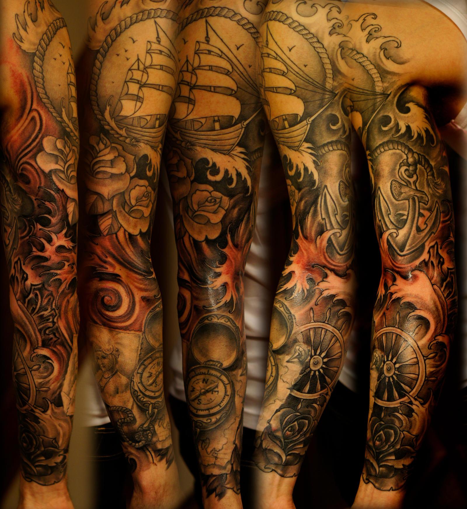 Sick Tattoo Sleeves Sea Sleeve By Strangeris Dod