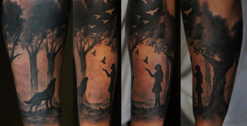 Тату на рукаве вороны лес 199