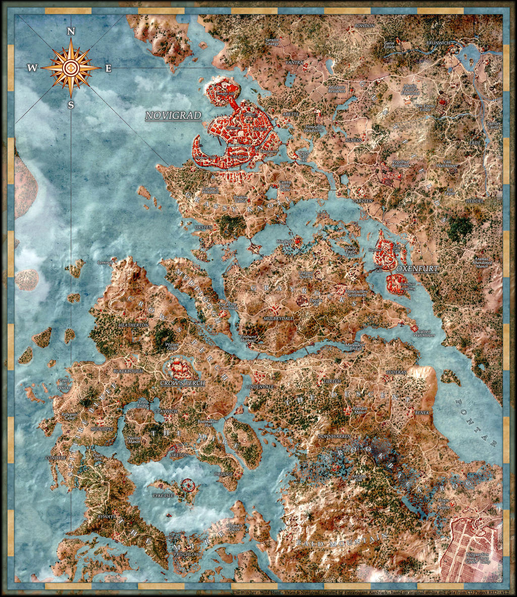 Witcher 3 Velen Map Witcher 3 Map Skellige Inspiring World Map